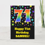"[ Thumbnail: Colorful Stars + Rainbow Pattern ""71"" Birthday # Card ]"