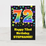 "[ Thumbnail: Colorful Stars + Rainbow Pattern ""72"" Birthday # Card ]"