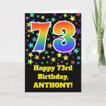 "[ Thumbnail: Colorful Stars + Rainbow Pattern ""73"" Birthday # Card ]"