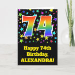 "[ Thumbnail: Colorful Stars + Rainbow Pattern ""74"" Birthday # Card ]"