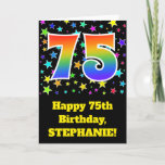 "[ Thumbnail: Colorful Stars + Rainbow Pattern ""75"" Birthday # Card ]"