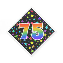 "Colorful Stars   Rainbow Pattern ""75"" Event # Napkin"