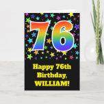 "[ Thumbnail: Colorful Stars + Rainbow Pattern ""76"" Birthday # Card ]"