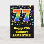 "[ Thumbnail: Colorful Stars + Rainbow Pattern ""77"" Birthday # Card ]"