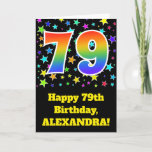"[ Thumbnail: Colorful Stars + Rainbow Pattern ""79"" Birthday # Card ]"