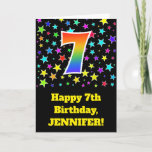 "[ Thumbnail: Colorful Stars + Rainbow Pattern ""7"" Birthday # Card ]"
