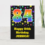 "[ Thumbnail: Colorful Stars + Rainbow Pattern ""84"" Birthday # Card ]"