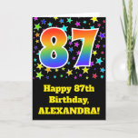 "[ Thumbnail: Colorful Stars + Rainbow Pattern ""87"" Birthday # Card ]"
