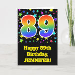 "[ Thumbnail: Colorful Stars + Rainbow Pattern ""89"" Birthday # Card ]"