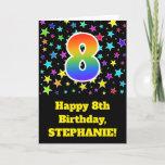 "[ Thumbnail: Colorful Stars + Rainbow Pattern ""8"" Birthday # Card ]"