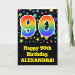 "[ Thumbnail: Colorful Stars + Rainbow Pattern ""90"" Birthday # Card ]"