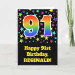 "[ Thumbnail: Colorful Stars + Rainbow Pattern ""91"" Birthday # Card ]"