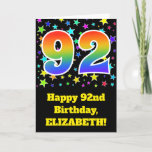 "[ Thumbnail: Colorful Stars + Rainbow Pattern ""92"" Birthday # Card ]"