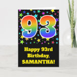 "[ Thumbnail: Colorful Stars + Rainbow Pattern ""93"" Birthday # Card ]"