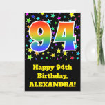 "[ Thumbnail: Colorful Stars + Rainbow Pattern ""94"" Birthday # Card ]"