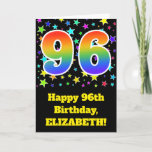 "[ Thumbnail: Colorful Stars + Rainbow Pattern ""96"" Birthday # Card ]"
