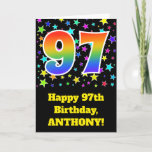 "[ Thumbnail: Colorful Stars + Rainbow Pattern ""97"" Birthday # Card ]"