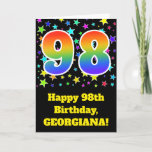 "[ Thumbnail: Colorful Stars + Rainbow Pattern ""98"" Birthday # Card ]"