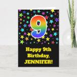 "[ Thumbnail: Colorful Stars + Rainbow Pattern ""9"" Birthday # Card ]"