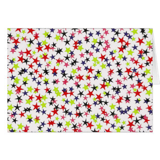 Colorful Stars - Red, Blue, Black, Yellow on White Cards