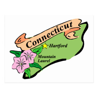 Colorful State of Connecticut Map Tees, Gifts Postcard