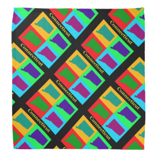 Colorful State of Connecticut Pop Art Map Bandana