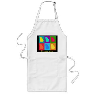 Colorful State of Georgia Pop Art Map Long Apron