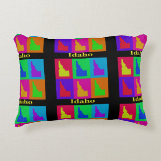 Colorful State of Idaho Pop Art Map Decorative Pillow
