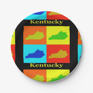 Colorful State of Kentucky Pop Art Map Paper Plate