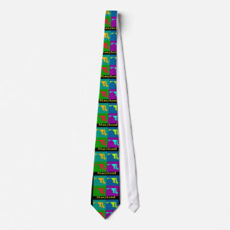 Colorful State of  Maryland Pop Art Map Neck Tie