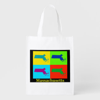 Colorful State of Massachusetts Pop Art Map Reusable Grocery Bags
