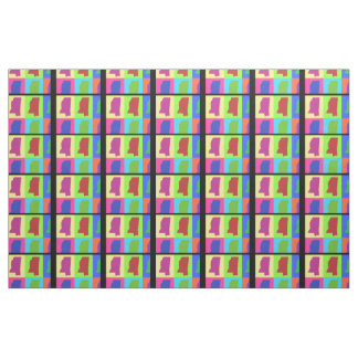 Colorful State of Mississippi Pop Art Map Fabric