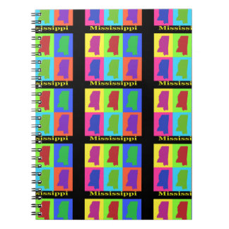 Colorful State of Mississippi Pop Art Map Notebook
