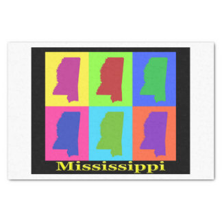 Colorful State of Mississippi Pop Art Map Tissue Paper