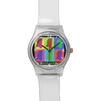 Colorful State of Mississippi Pop Art Map Watch
