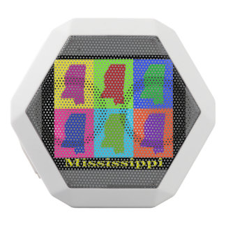 Colorful State of Mississippi Pop Art Map White Bluetooth Speaker