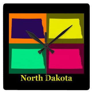 Colorful State of North Dakota Pop Art Map Square Wall Clock