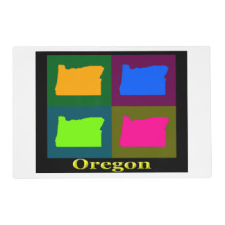Colorful State of Oregon Pop Art Map Placemat
