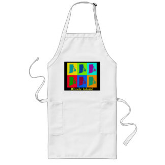 Colorful State Of Rhode Island Pop Art Map Long Apron