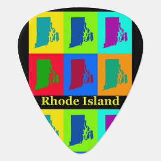 Colorful State Of Rhode Island Pop Art Map Guitar Pick