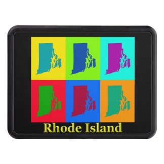 Colorful State Of Rhode Island Pop Art Map Trailer Hitch Covers