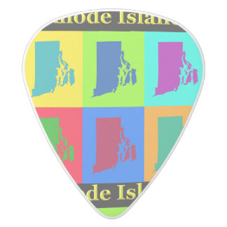 Colorful State Of Rhode Island Pop Art Map White Delrin Guitar Pick
