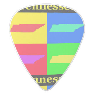 Colorful State of Tennessee Pop Art Map White Delrin Guitar Pick