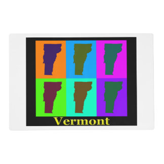 Colorful State Of Vermont Pop Art Map Laminated Place Mat