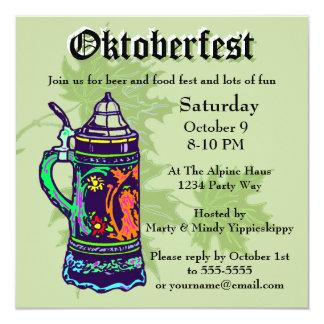 Colorful Stein on Green Oktoberfest Invitation