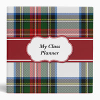 Colorful Stewart Tartan Plaid Binder