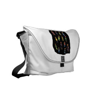 Colorful stick figure crayon type drawing bl courier bag