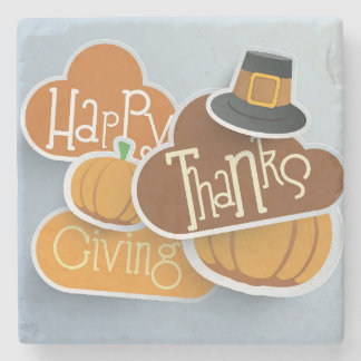 Colorful Sticker, Tags Or Labels For Happy Stone Coaster