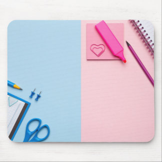 Colorful Sticky Notes on Pastel Background Mouse Pad