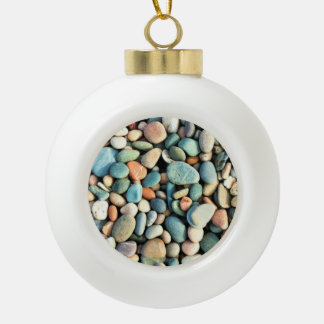 Colorful Stones Pebbles Ceramic Ball Christmas Ornament